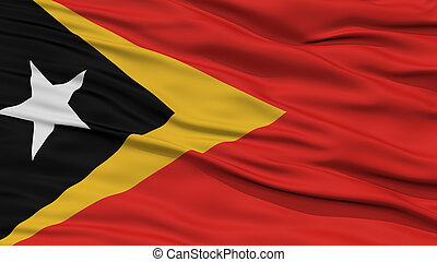 Closeup East Timor Flag, Waving in the Wind, High Resolution