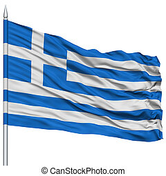 Greece Flag on Flagpole , Flying in the Wind, Isolated on...
