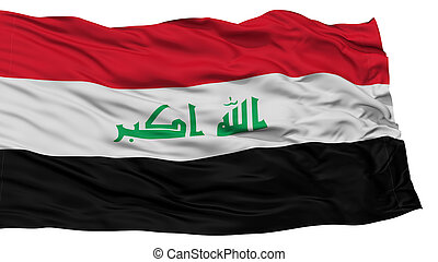 Isolated Iraq Flag, Waving on White Background, High...