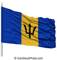 Barbados Flag on Flagpole, Flying in the Wind, Isolated on...