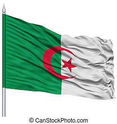 Algeria Flag on Flagpole, Flying in the Wind, Isolated on...
