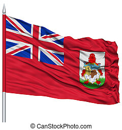 Bermuda Flag on Flagpole, Flying in the Wind, Isolated on...