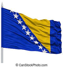 Bosnia and Herzegovina Flag on Flagpole, Flying in the Wind,...