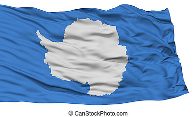Isolated Antarctica Flag, Waving on White Background, High...
