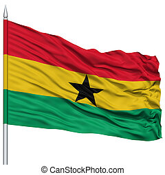 Ghana Flag on Flagpole , Flying in the Wind, Isolated on...