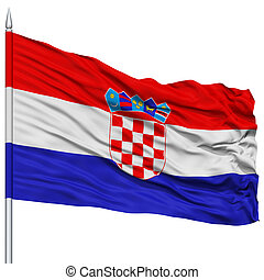 Croatia Flag on Flagpole , Flying in the Wind, Isolated on...