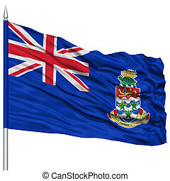 Cayman Islands Flag on Flagpole , Flying in the Wind,...