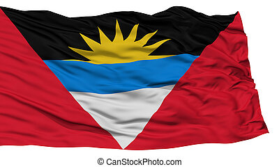 Isolated Antigua and Barbuda Flag, Waving on White...