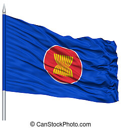 ASEAN Flag on Flagpole, Flying in the Wind, Isolated on...
