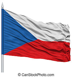 Czech Flag on Flagpole , Flying in the Wind, Isolated on...