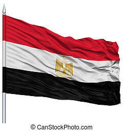 Egypt Flag on Flagpole , Flying in the Wind, Isolated on...