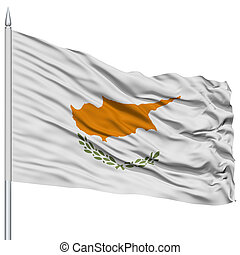 Cyprus Flag on Flagpole , Flying in the Wind, Isolated on...