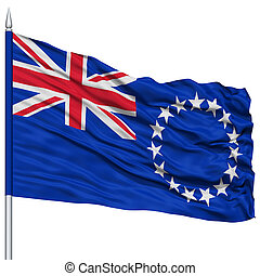 Cook Islands Flag on Flagpole , Flying in the Wind, Isolated...