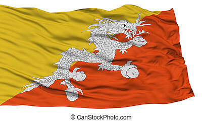Isolated Bhutan Flag, Waving on White Background, High...