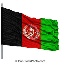 Afghanistan Flag on Flagpole, Flying in the Wind, Isolated...