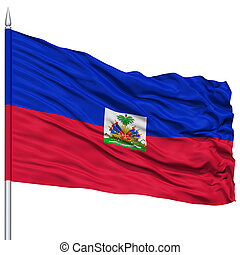 Haiti Flag on Flagpole , Flying in the Wind, Isolated on...