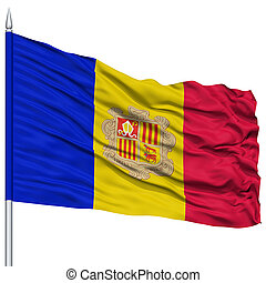 Andorra Flag on Flagpole, Flying in the Wind, Isolated on...