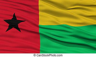 Closeup Guinea Bissau Flag, Waving in the Wind, High...