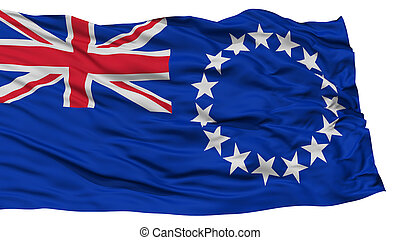 Isolated Cook Islands Flag, Waving on White Background, High...