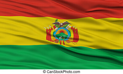 Closeup Bolivia Flag, Waving in the Wind, High Resolution