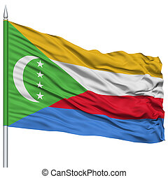 Comoros Flag on Flagpole , Flying in the Wind, Isolated on...