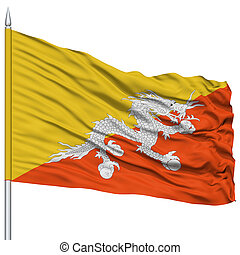 Bhutan Flag on Flagpole