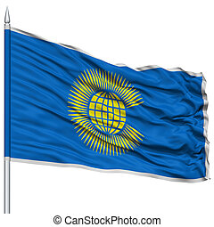 Commonwealth Flag on Flagpole , Flying in the Wind, Isolated...