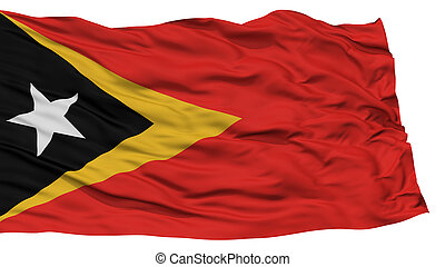 Isolated East Timor Flag, Waving on White Background, High...
