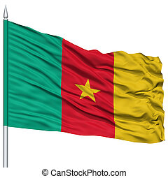 Cameroon Flag on Flagpole, Flying in the Wind, Isolated on...