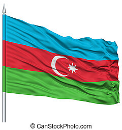 Azerbaijan Flag on Flagpole, Flying in the Wind, Isolated on...