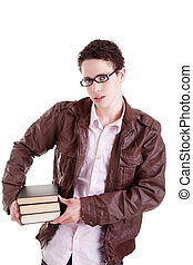 young and beautiful boy, with books on the hands, isolated on white background. Studio shot