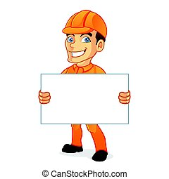 Electrician holding blank sign isolated in white background