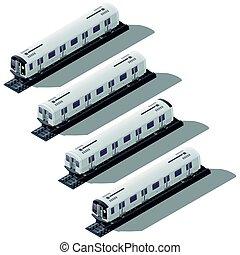 Subway cars isometric icon set