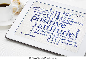 positive attitude word cloud on tablet