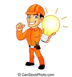 Electrician holding light bulb isolated in white background