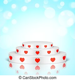 White romantic scene with red hearts.