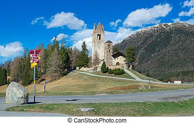 Church of San Gian in Celerina near Sankt Moritz in...