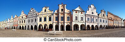 Panoramic view of Telc or Teltsch town square with...