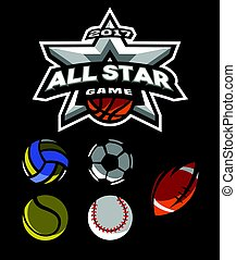 All star game logo, emblem. - All star game logo, emblem for...