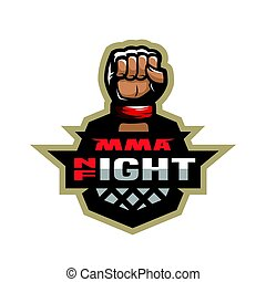 Mixed martial arts sport logo. - Night fight. Mixed martial...