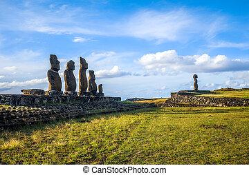 Moais statues, ahu ko te riku, easter island, Chile