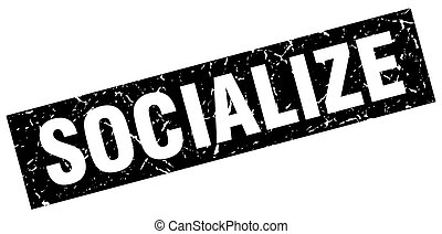 square grunge black socialize stamp