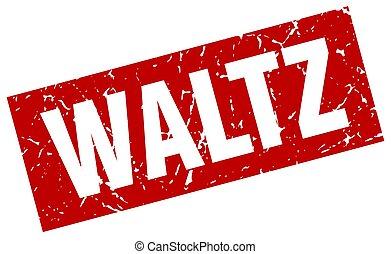 square grunge red waltz stamp