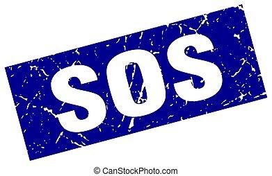 square grunge blue sos stamp