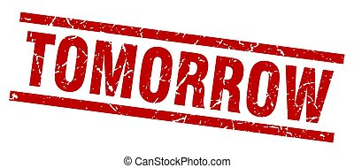 square grunge red tomorrow stamp