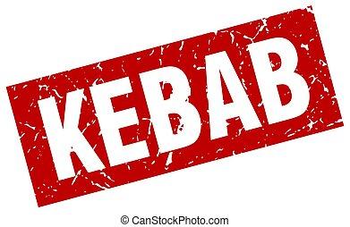 square grunge red kebab stamp