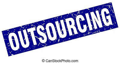square grunge blue outsourcing stamp