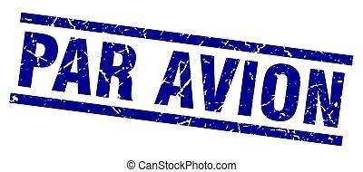 square grunge blue par avion stamp