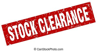 square grunge red stock clearance stamp