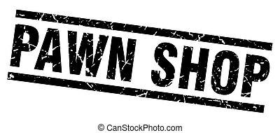 square grunge black pawn shop stamp